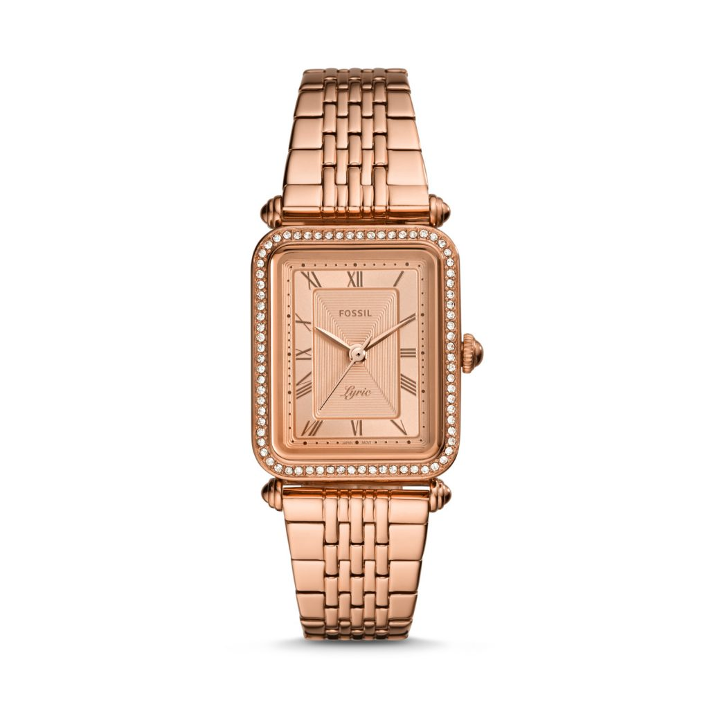 Fossil Lyric Three-Hand Rose Gold-Tone Stainless Steel Watch, Golden Watch, Luxury Watch, Elegant Watch