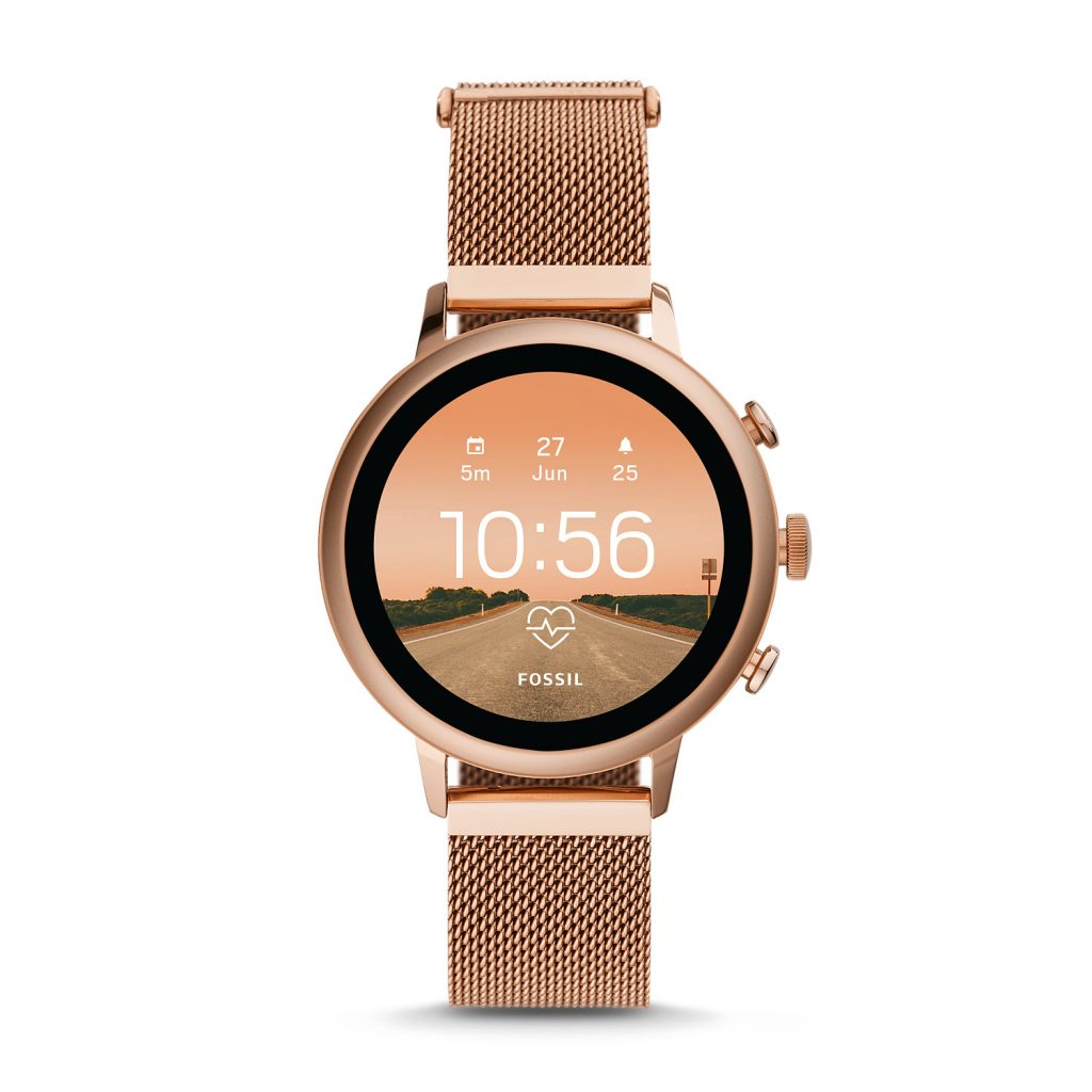 Fossil Gen 4 Smartwatch Venture Hr Rose-Gold Tone Stainless Steel Mesh, Digital Watch, Luxury Watch, Modern Watch