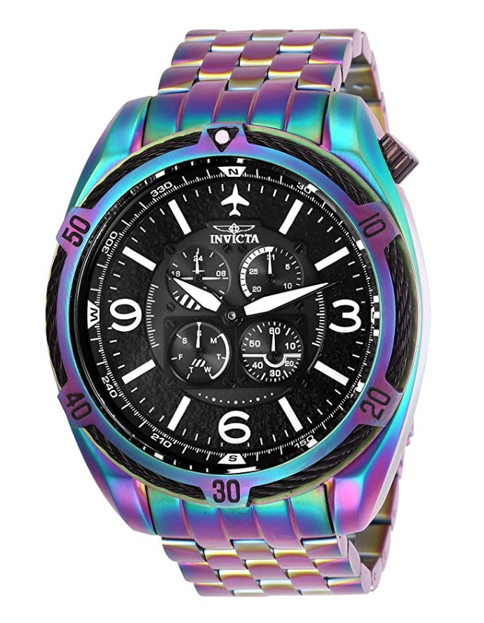 Invicta Watches, Invicta Aviator, Colourful Watch, Analogue Watch, Black Watch Face