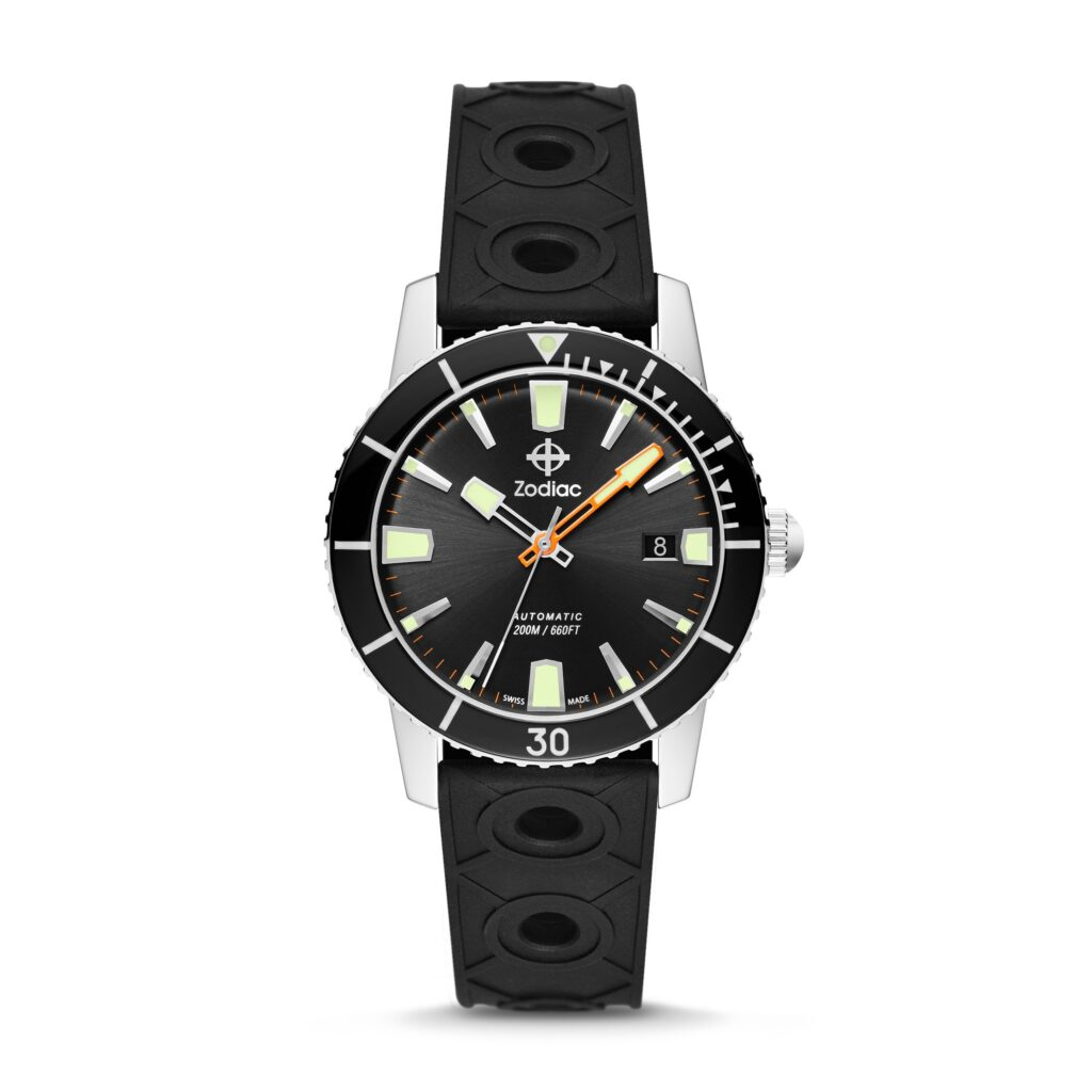 Zodiac Super Sea Wolf 53 Compression Watch, Timeless, Black Watch, Rubber, Automatic Watch