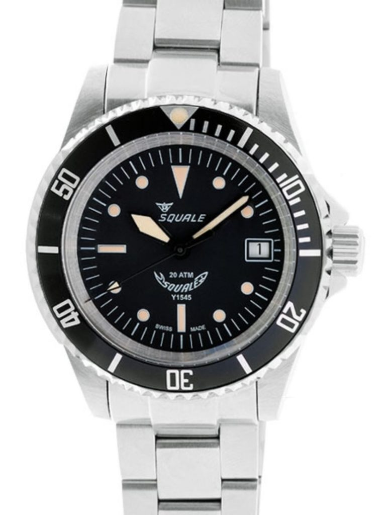 Squale 20 Atmos steel bracelet black dial