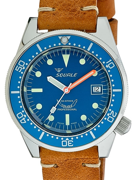 Squale 50 Atmos brown leather blue dial
