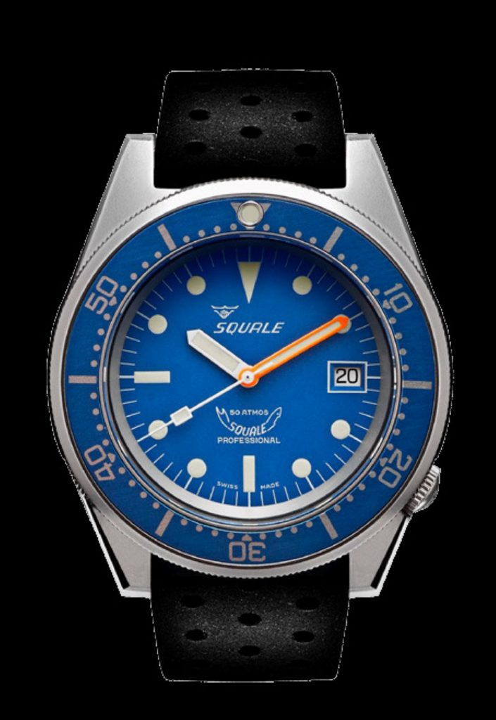 Squale 50 Atmos black rubber blue dial