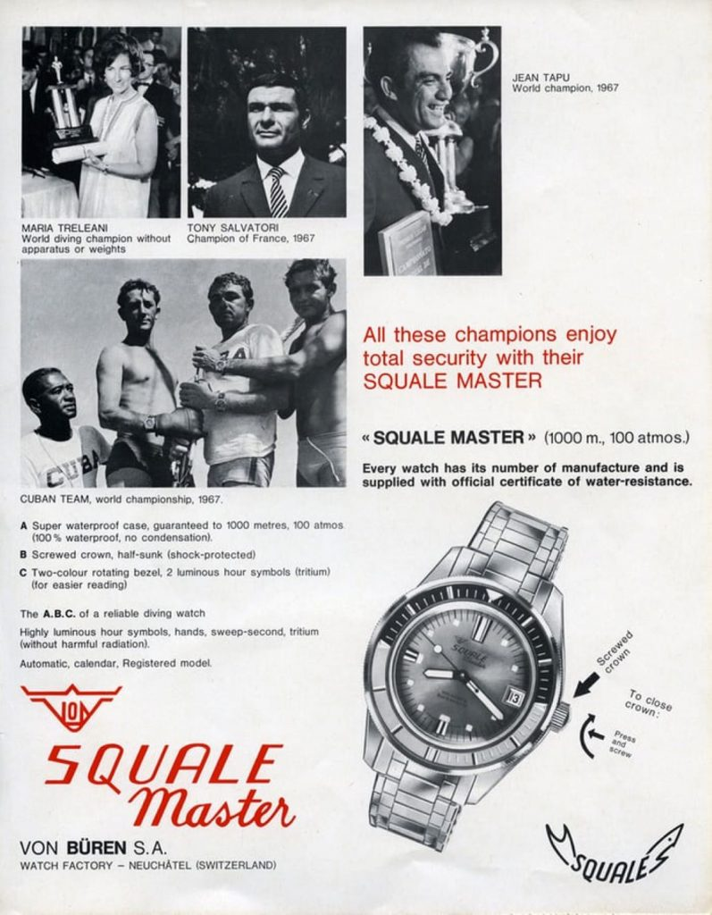 Squale Master 100 Atmos 1960s advertisement