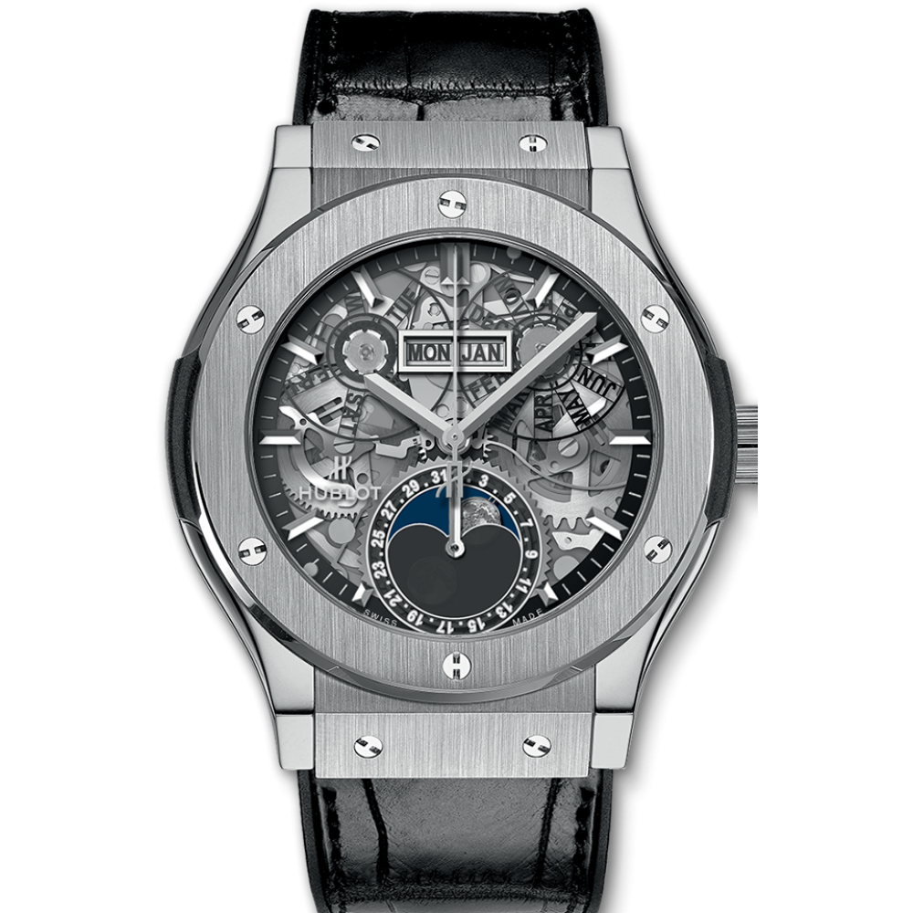 Hublot Classic Fusion Aerofusion Moonphase Skeleton, Silver Watch, Leather Watch, Skeleton Watch