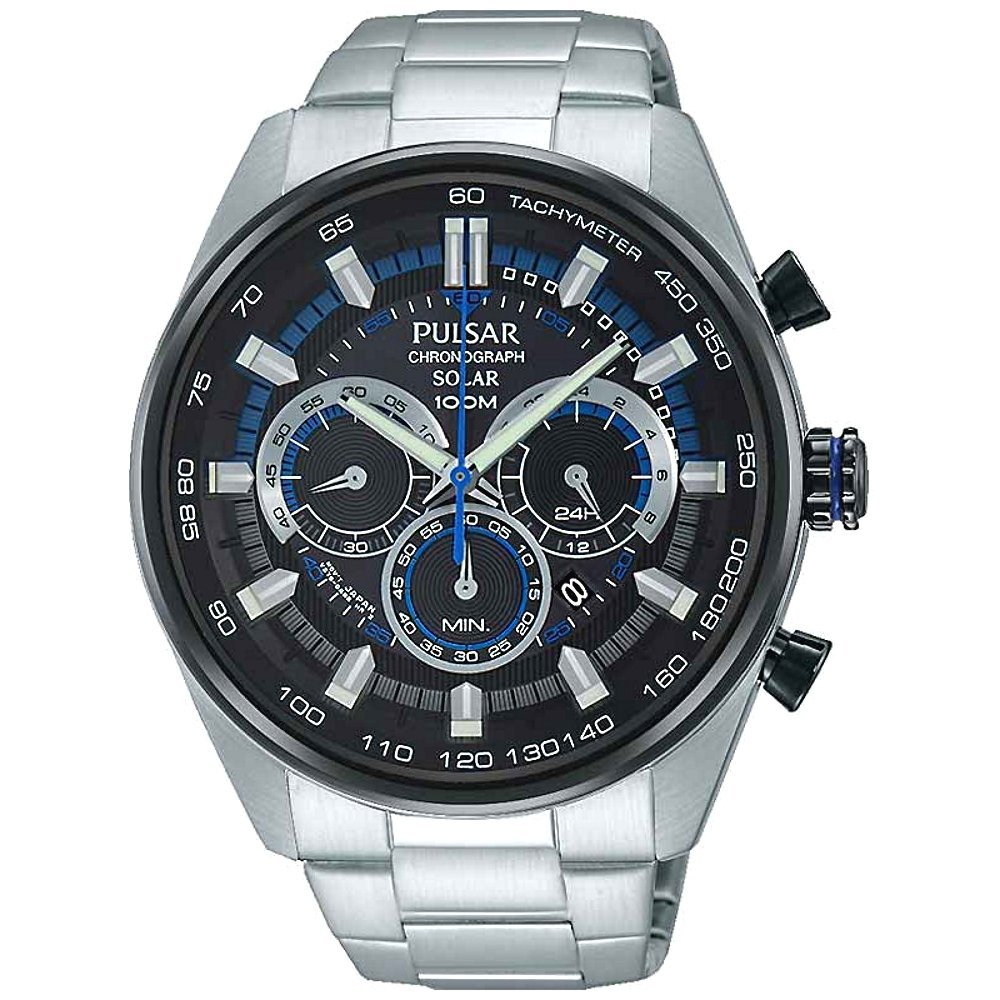 Pulsar Gents Solar Chronograph, Water-resistant Watch, Silver Bracelet, Automatic Watch