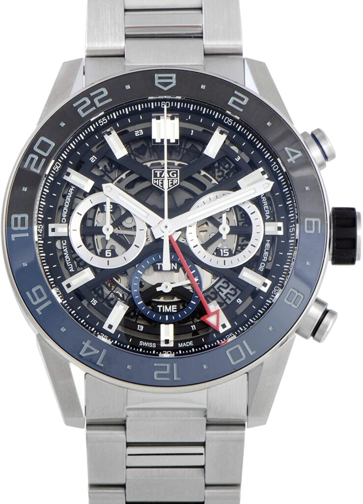 Tag Heuer Carrera Calibre Heuer 02 GMT Automatic, Skeleton Watch, Swiss Made Watch, Steel Watch
