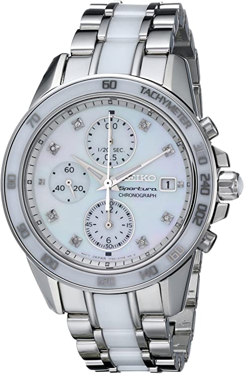 Seiko Sportura Ladies' Chronograph, Steel Watch, Date Display, Japanese Watch, Tachymetre Function