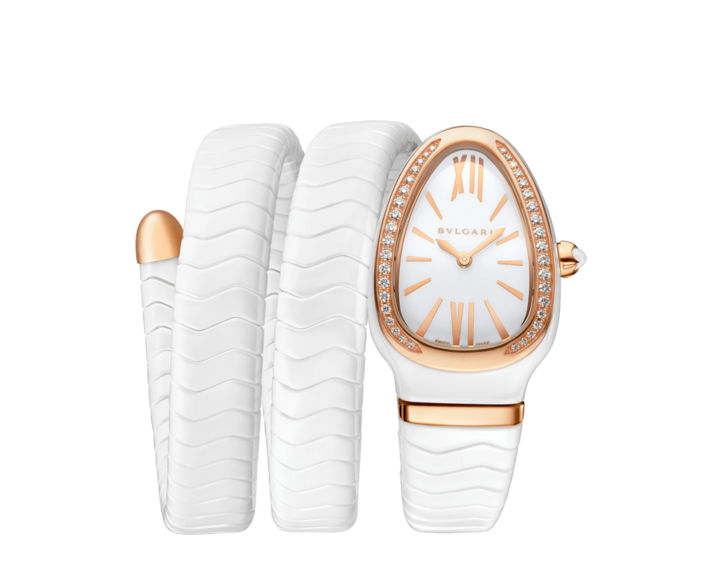 Bulgari Serpenti Spiga, Luxury Watch, Swiss Watch, White Watch