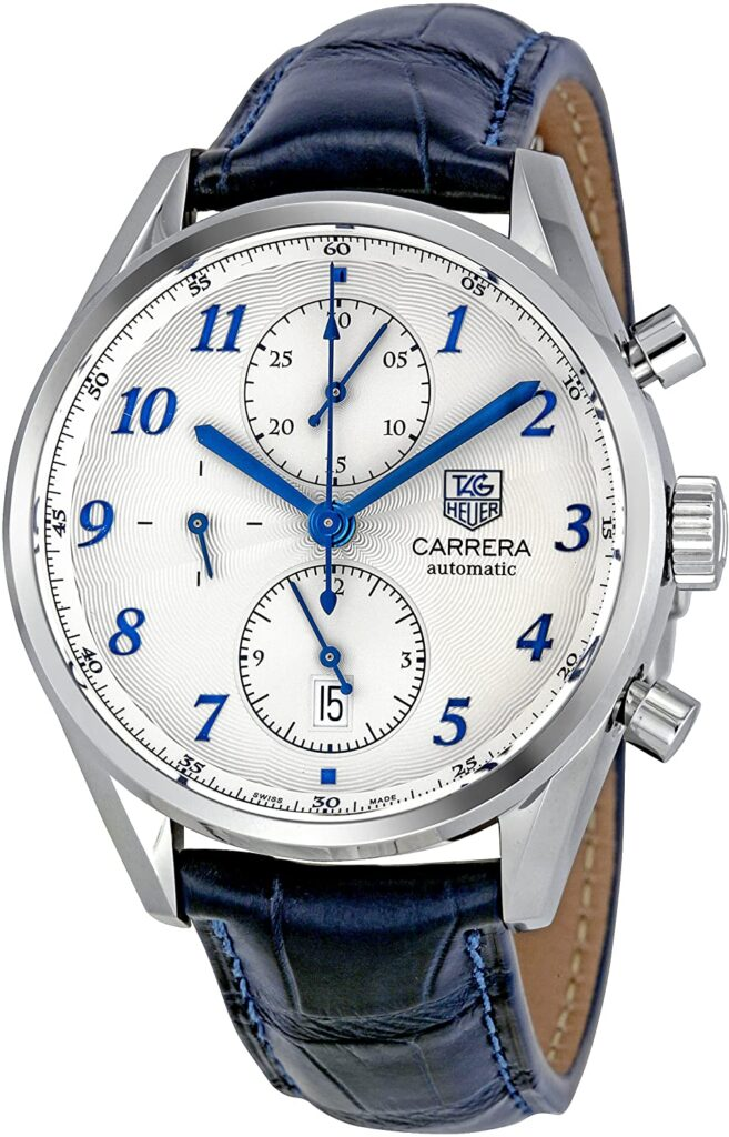Tag Heuer Carrera Heritage Chronograph, Automatic Watch, Swiss Watch, Leather Watch, Silver Watch Dial, Analogue Watch