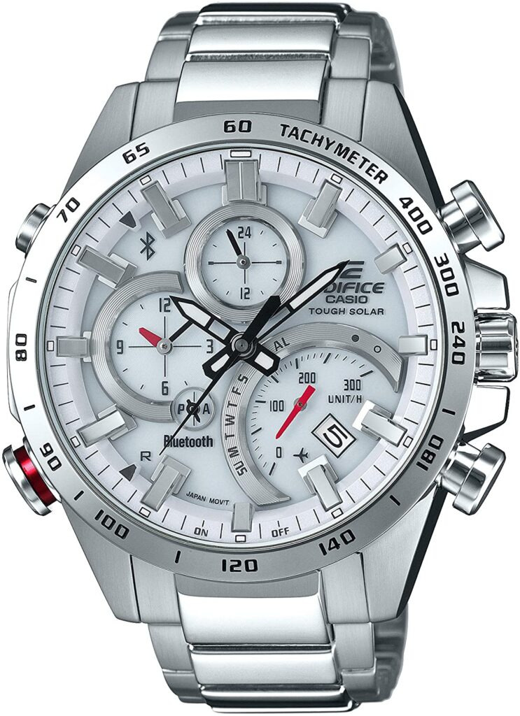 Casio Edifice EQB-501XD-7AJF, Casio Sports Watches, Steel Watch, Tachymetre Function, Solar Watch