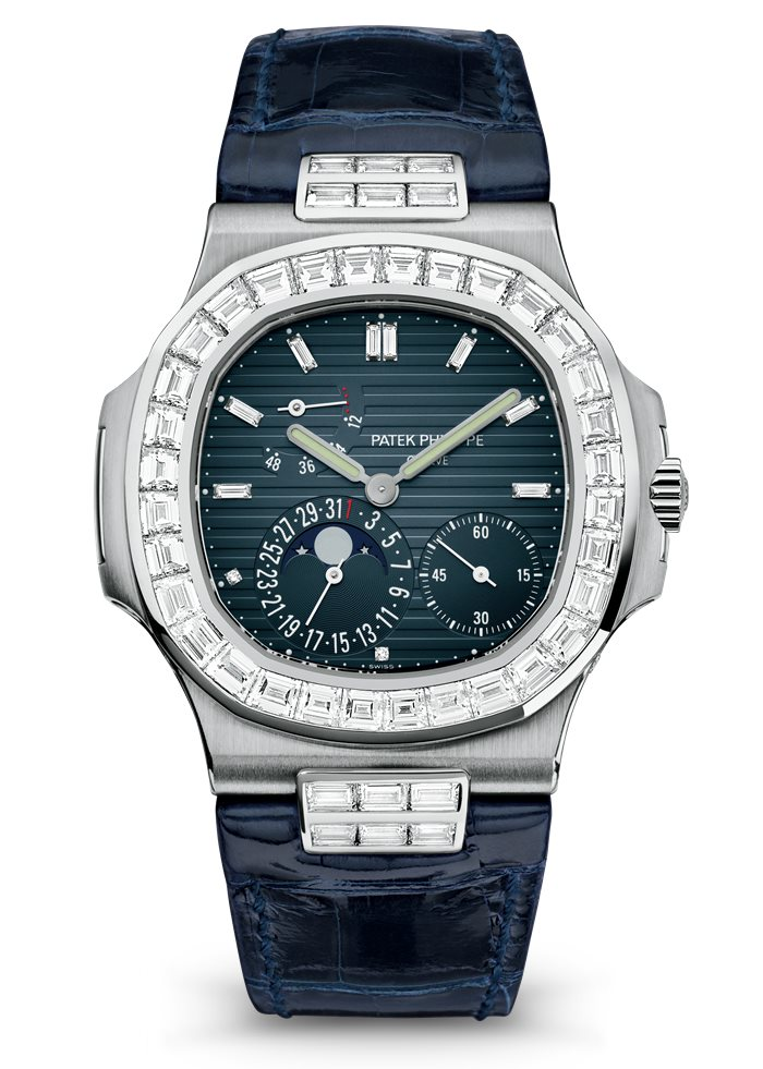 Patek Philippe Nautilus 5724G Moon Phase, Leather Watch, Square Watch Face, Watch Dial With Diamonds