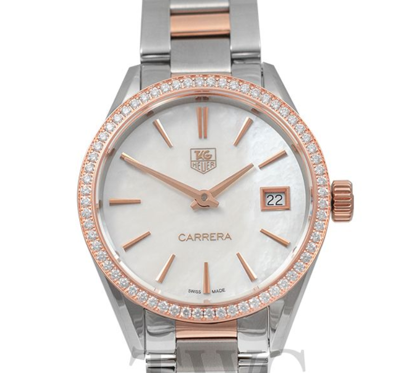 TAG Heuer Carrera Ladies Quartz Mother Of Pearl Dial, Steel Watch, Diamonds Watch, Swiss Watch, Date Display, Analogue Watch