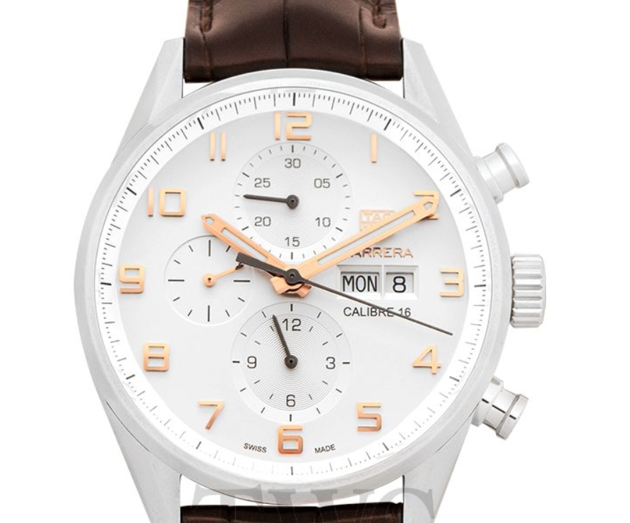 Tag Heuer Carrera Calibre 16 Automatic Chronograph, Analogue Watch, Swiss Watch, Leather Watch, White Watch Face