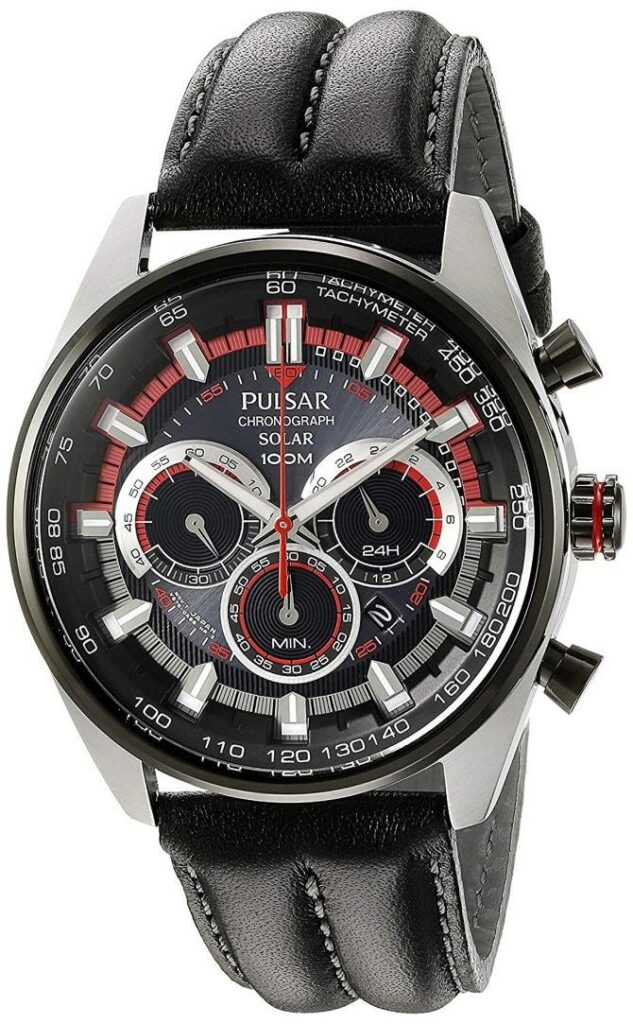 Pulsar PX5031 Chronograph, Solar Watch, Tachymetre, Functional Watch, Leather Watch, Swiss Watch
