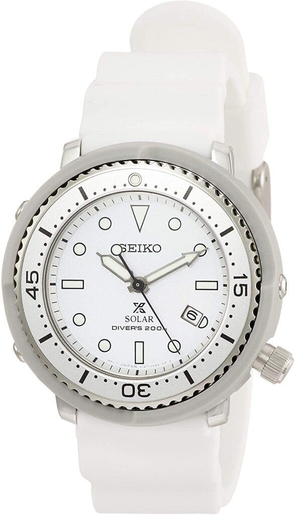 Seiko Prospex STBR021, Seiko Dive Watches, White Watch, Solar Watch, Date Display
