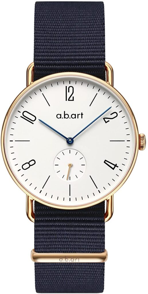 a.b.art FN41-001-17L Bauhaus, German Watches, Analogue Watch, Milliseconds Feature, Gold Watch Dial