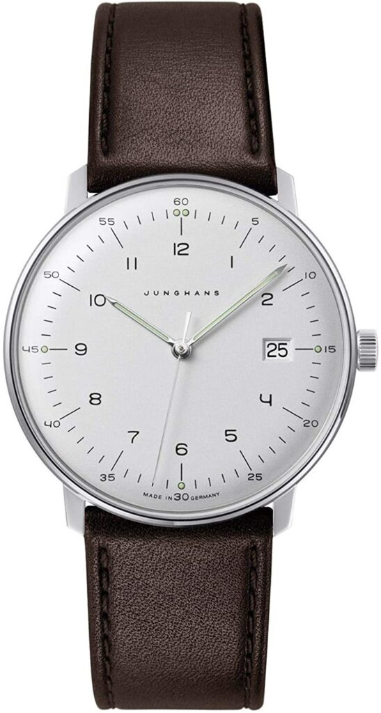 Junghans Max Bill, German Watches, Date Display, White Watch Face, Brown Watch Strap