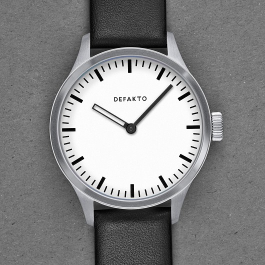 Defakto Akkord, German Watches, Minimalist Watch Design, Black Watch Strap, Silver Watch Dial
