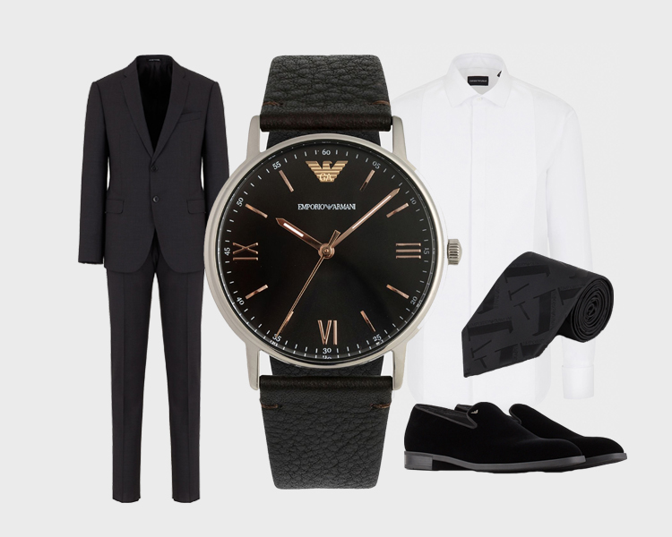 Emporio Armani Watches Three-Hand Leather Watch Black