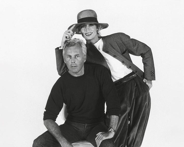 Giorgio Armani with Lauren Hutton, 1980