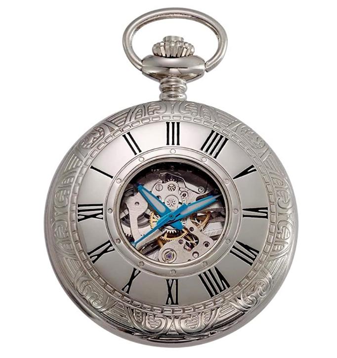 Gotham Silver-Tone Mechanical Pocket Watch