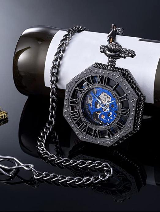 Mudder Steampunk Mechanical Skeleton Pocket Watch