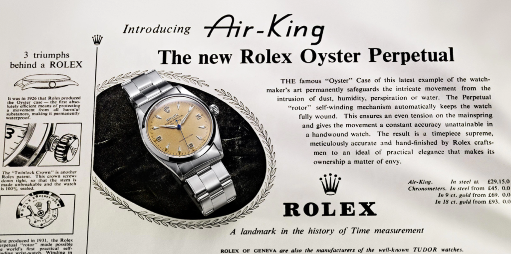Rolex Air King vintage ad