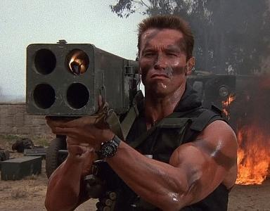 Arnold Schwarzenegger wearing the Seiko Arnie in Terminator movie
